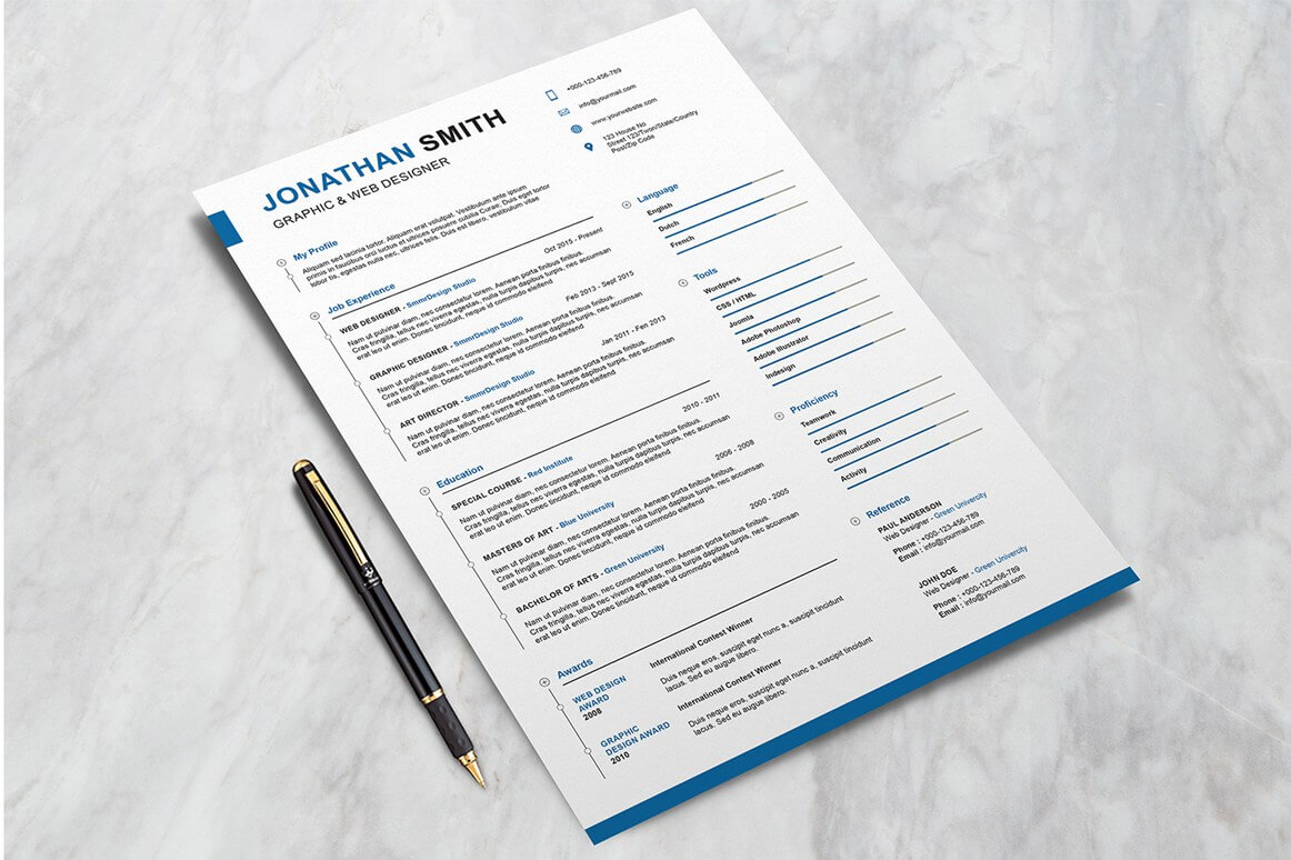 free elegant preppy psd resume mockup with pen